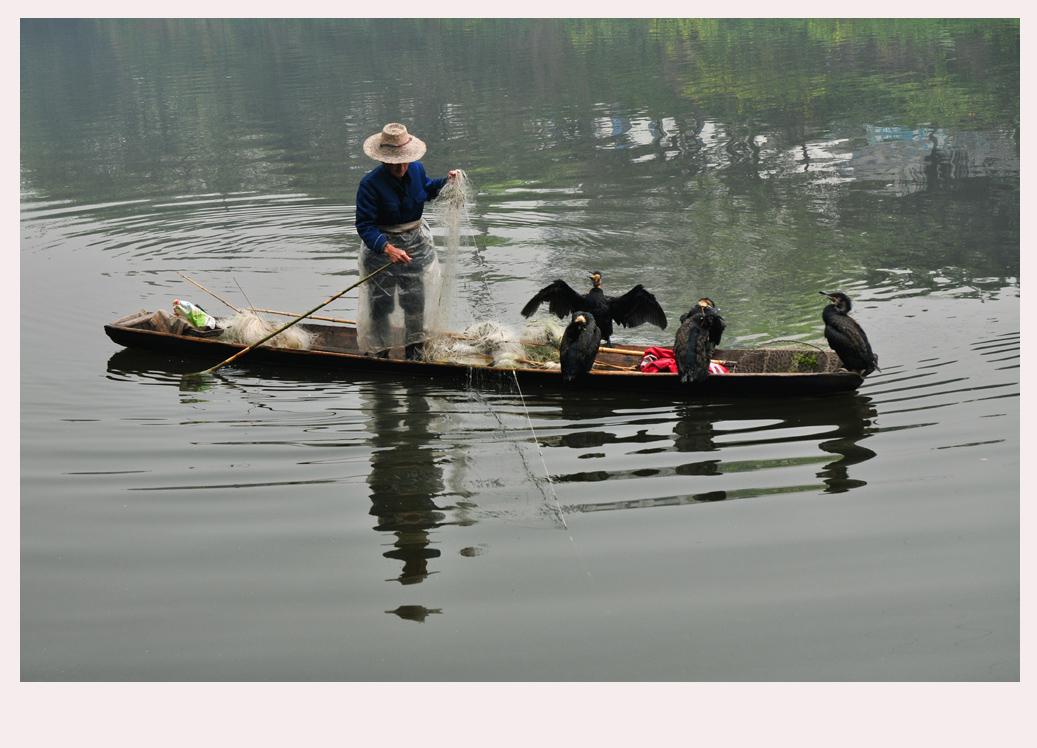 茫溪河上打渔翁