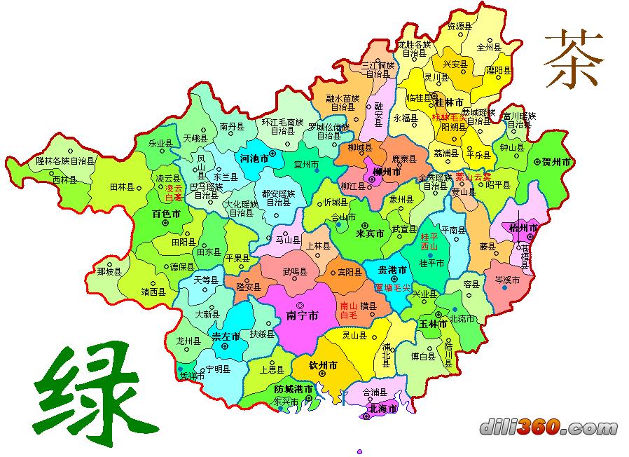 中国绿茶分布地图