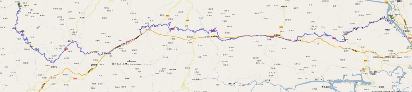 宜昌到重庆奉节县小寨村全路程图(取自google地图)
