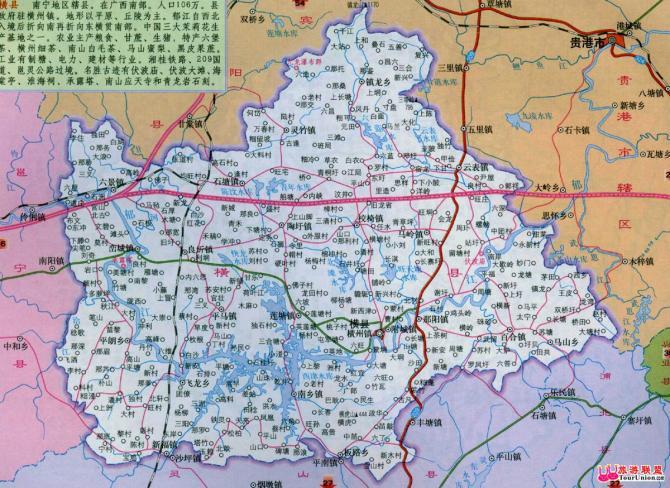 管辖14个镇,3个乡:横州镇,百合镇,那阳镇,南乡镇,新福镇,莲塘镇,平马