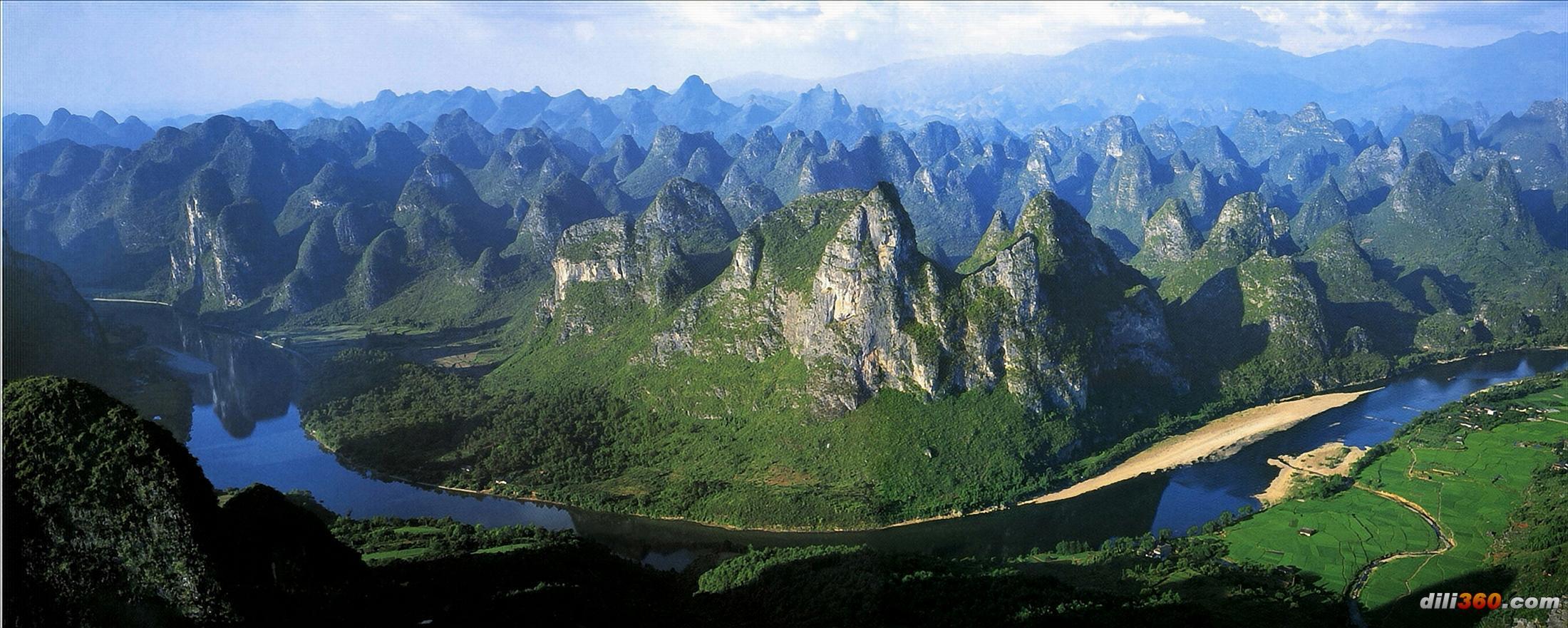 广西桂北喀斯特地貌----高清漓江宽屏图片