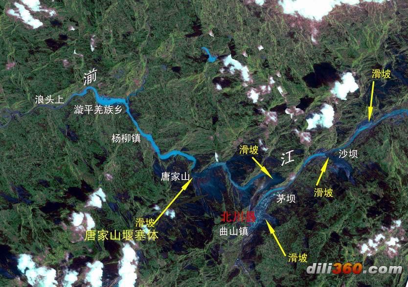 /font> /p> font size=3>   <>唐家山堰塞湖分布图(卫星) /p>图片